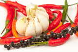 Hot peppers with garlic
