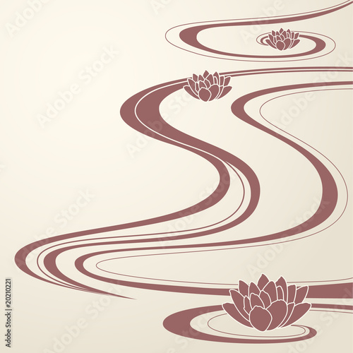 elegant background abstract water waves and lotuses flowers