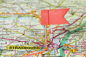 Strasbourg pinned on map