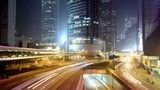 Cityscape timelapse Hong Kong at night. Rush Hour Busy traffic.
