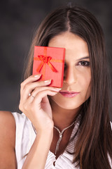 Woman showing her gift box