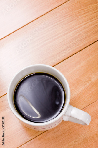 A cup of freshly brewed black coffee