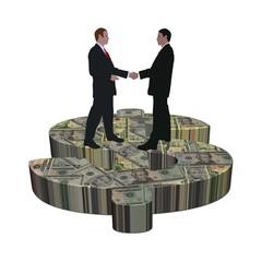 business men meeting on giant American dollar symbol
