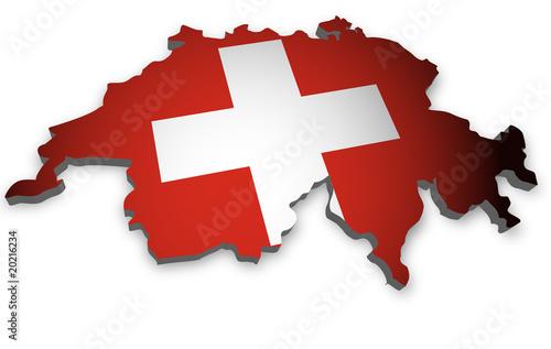 Schweiz Karte 3D Flagge