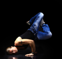 stylish and cool breakdance style dancer posing.