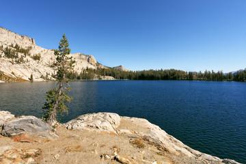 The May lake in mountains Yosemite park