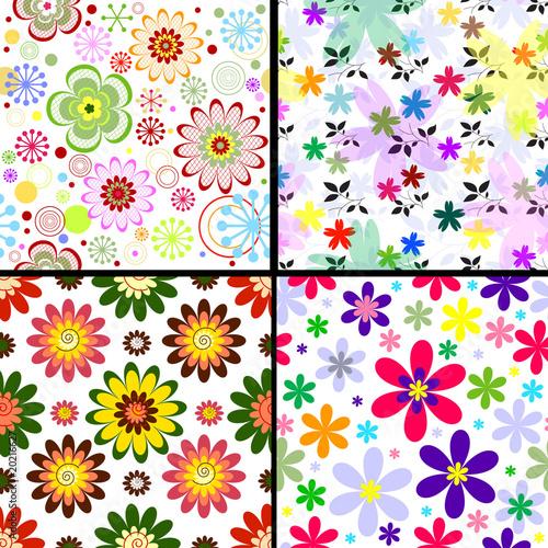 Set seamless floral vivid patterns