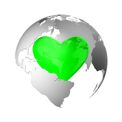 Earth with green heart