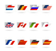 world flags as folders vector icons