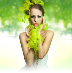 Cute young lady over green background