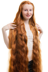 Young women with long red hair