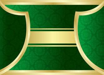 Gold green background