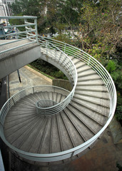 beautiful spiraling stairs.