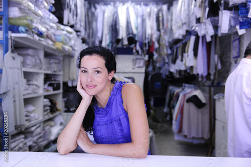 portrait of the owner of a dry cleaner/ laundry store