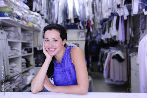 small business: portrait of the owner of a dry cleaner