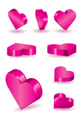 set of 9 3D vector heart shapes