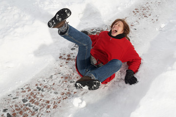 woman slipping on black ice