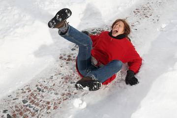 woman slipping on black ice