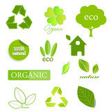 Vector set of ecological icons and design elements on white