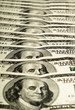 dollar banknotes row on soft focus