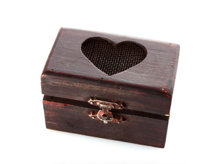 Old wooden box of treasure with heart  opened isolated on white