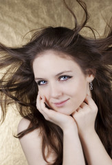 Beautiful woman with hair in motion