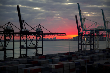 Port of Miami shipyard at sunset