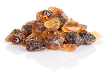 Crystals of brown unrefined cane sugar