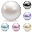 Vector collection of color pearls isolated on white. - 20235278