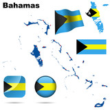 Bahamas vector set. Detailed country shape and flags poster