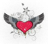 Wings heart emblem