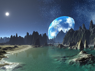Earth-rise from Alien Shore