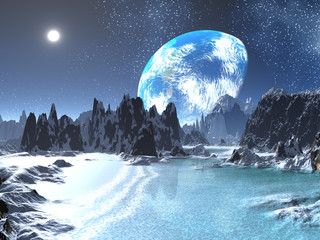 Winter Earth-rise from Alien Shore