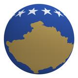 Kosovo flag on the ball isolated on white. poster