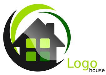 Logo maison arcs carrés verts