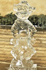 sculpture of clown from ice