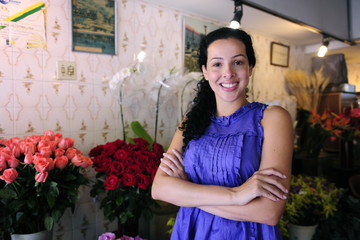 happy owner of a flower shop
