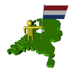 abstract person with Dutch flag on map illustration
