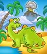 roleta: Cute dinosaur with volcano