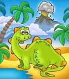 Cute dinosaur with volcano-