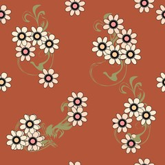 Seamless art flower pattern