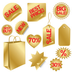 golden set of sale icons