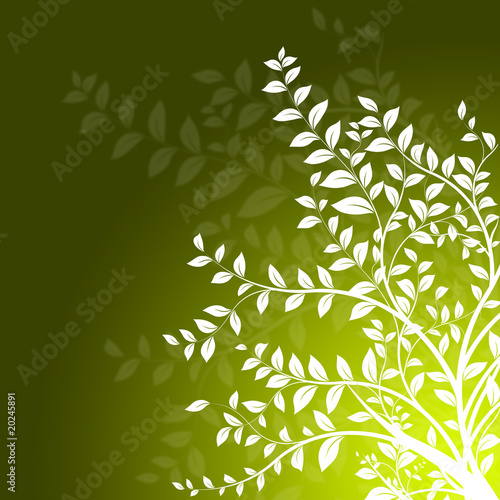 d coration branche d 39 arbre sur fond vert floral design photo libre de droits sur la banque d. Black Bedroom Furniture Sets. Home Design Ideas
