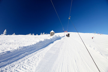 Winter Landscape with Rope Tow to the Top of the Mountain