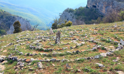 Concentric stone circles on spring plateau