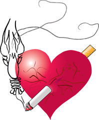""" Heart pierced by a cigarette """