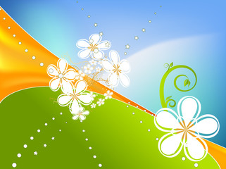 Abstract spring background vector with floral elements