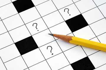 Crossword puzzle with many question marks