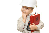 child pretending to be an engineer poster