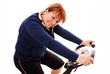 Smiling woman on bike